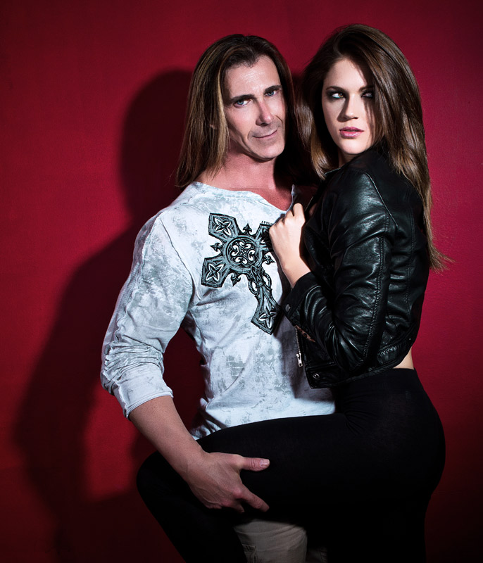 Las Vegas Glamour & Fashion photographer Shaun Goodrich captures LA fashion model Aubrey Brissey with celebrity Fabio on location in Los Angeles, CA.