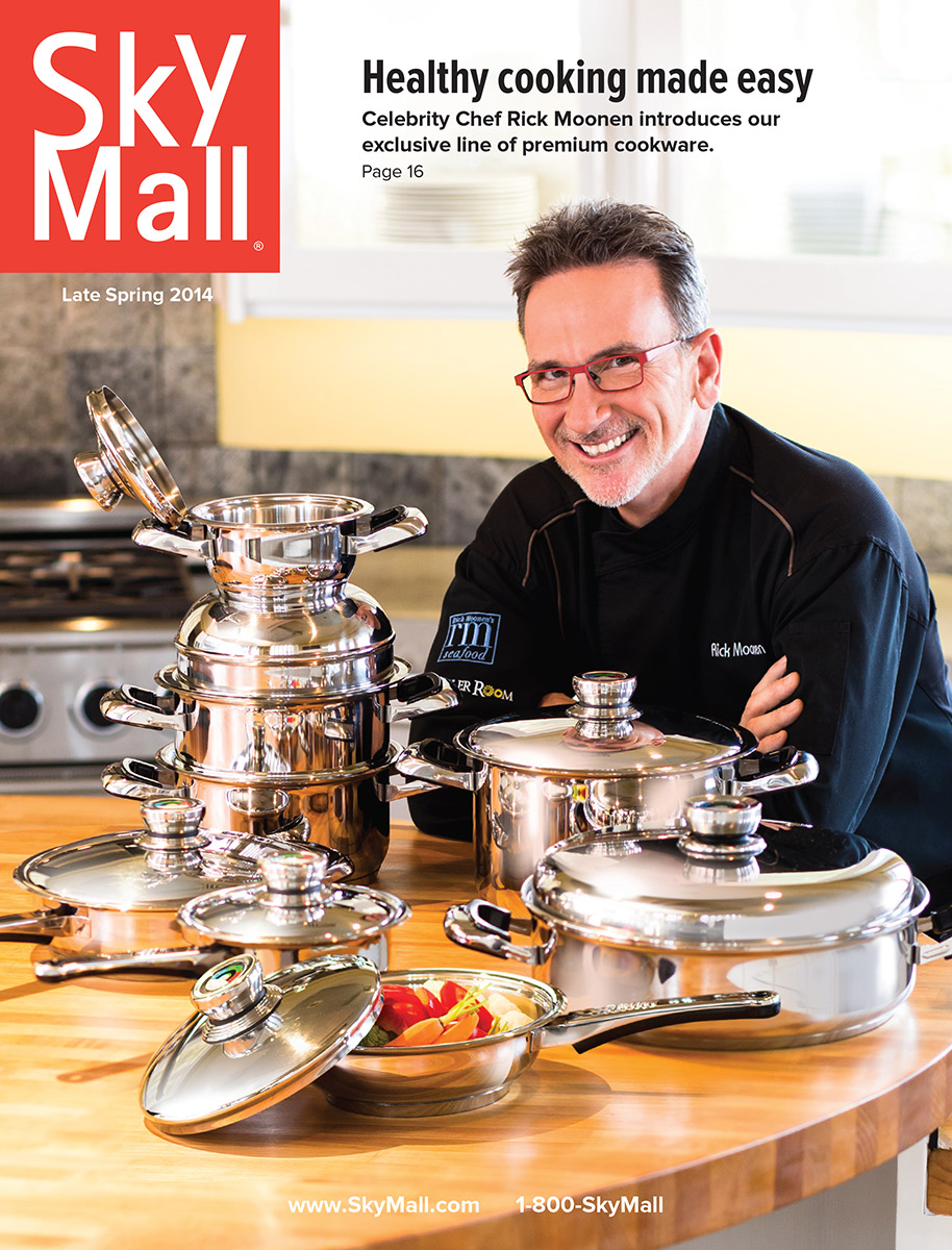 Celebrity Chef Rick Moonen of RM Seafood and RX Boiler room at The Mandalay Bay Las Vegas NV graces cover of Sky Mall Magazine. Photographer: Shaun Goodrich.